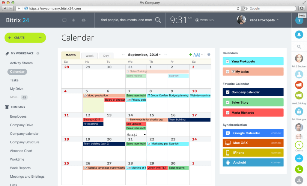 Bitrix24 group calendar