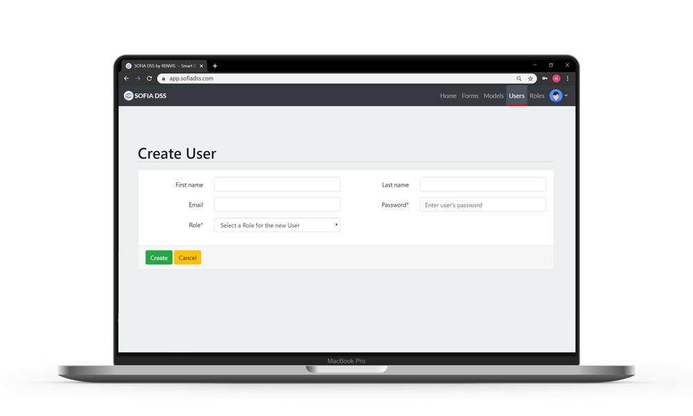 Decision Users - SOFIA DSS screenshot