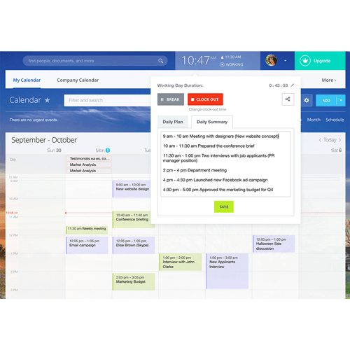 The Bitrix24 calendar planning feature showing a month's and a day's schedule