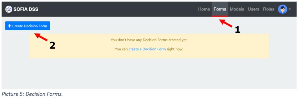 A tutorial step for SOFIA DSS decision form creation